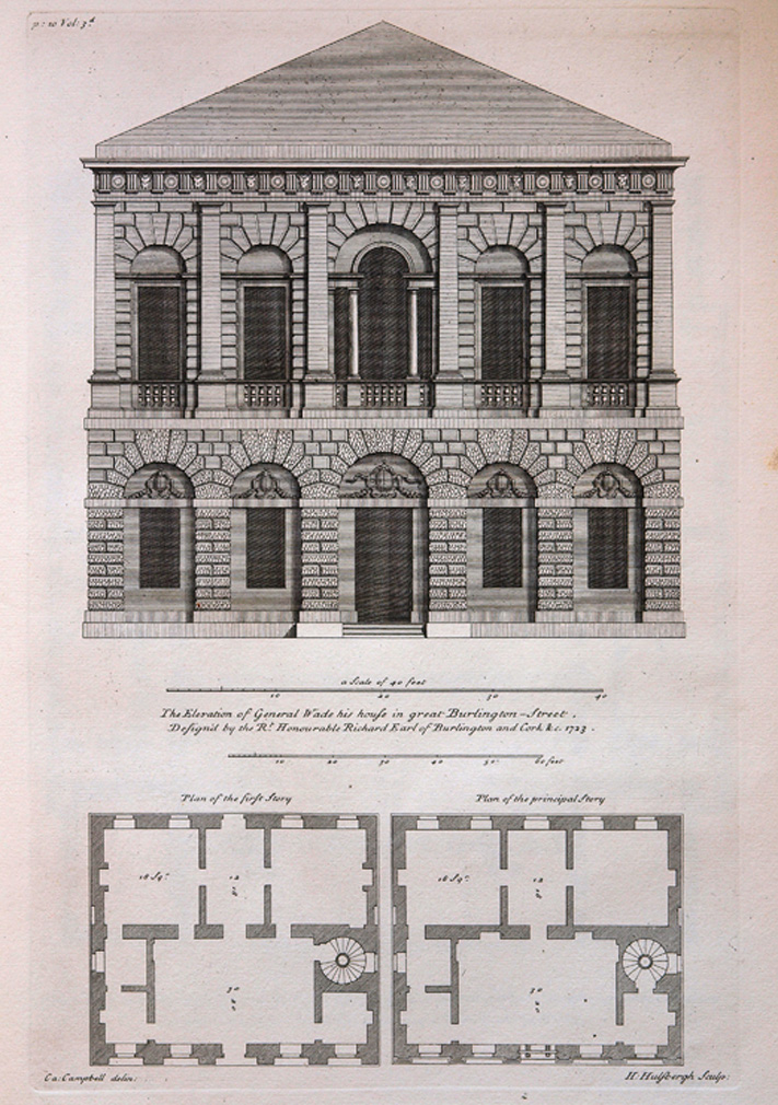 Plate 10. General Wade's House, Old Burlington Street, London, from Vitruvius Britannicus, Vol. 3, 1725